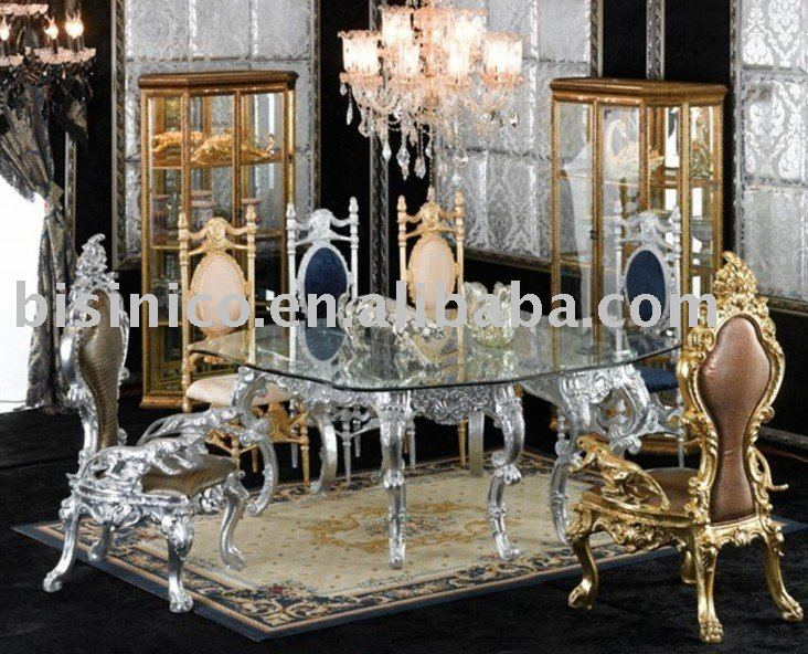 New antique hand carving luxury dining room furniture set,glass top round table,king chair,silver or gold plated(China (Mainland))