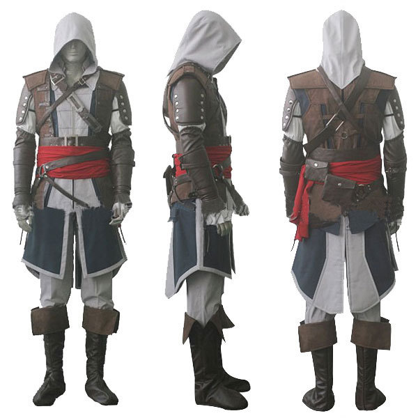 Assassin's Creed IV 4 Black Flag Edward Kenway Cosplay Costume Whole Set Custom Made Express Shipping
