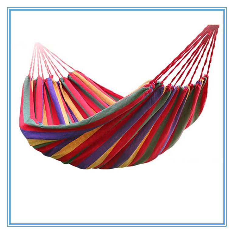 Portable Outdoor Garden Hammock Hang BED Travel Camping Swing Canvas Stripe Hammock Single Double People Swing Bed(China (Mainland))