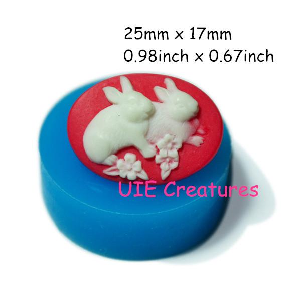 118LBC Easter Bunny Cameo Mold Two Rabbits Cameo Silicone Mold Cake Decorating Cupcake Decoration Cake Fondant Flexible Mold(China (Mainland))