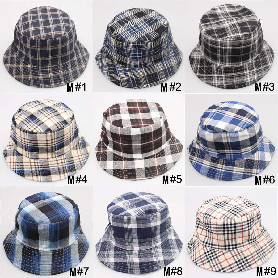 Retail New Classic Men and Women Sun Hat Adult Plaid Bucket Hat Canvas Summer Beach Hat Checked 18 style Free Shipping(China (Mainland))