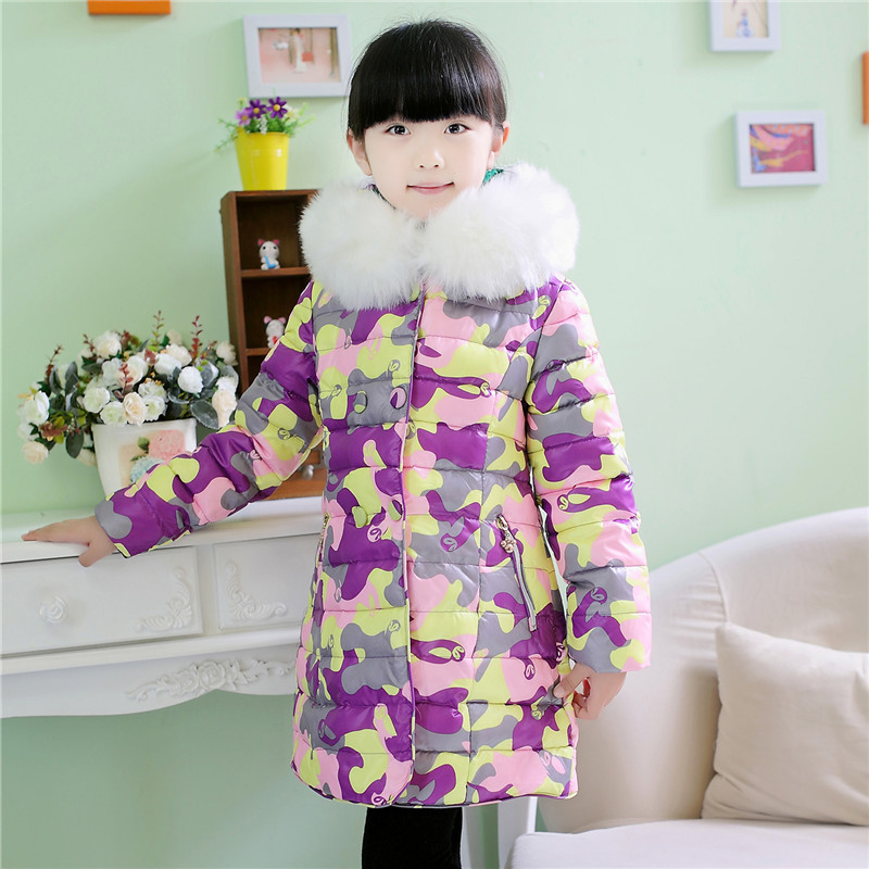 4-12Y Fashion Print Winter Down Jacket for Baby Girl Big Faux Fur Collar Warmly Children Winter Suit Princess Kids Clothes(China (Mainland))