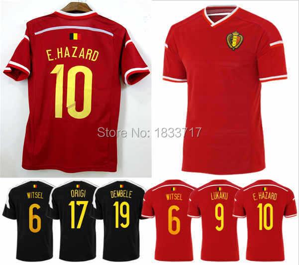Thai Quality 15 16 Belgium Soccer Jersey 2015 2016 E.HAZARD DEMBELE KOMPANY WITSEL DE BRUYNE national team football shirts(China (Mainland))