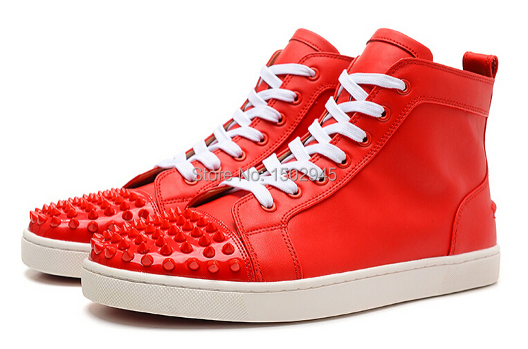 2015 Newest brand Men women genuine leather fashion casual shoes flat, France Red Bottom LOUIS spike high toP fashion sneakers(China (Mainland))