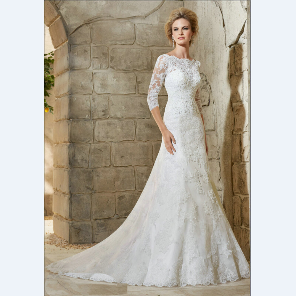 White lace mermaid wedding dresses elegant wedding gown for Wedding dresses with half sleeves