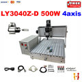 4axis drilling machine LY CNC 3040 Z D500W assembled with linear bearings rotational axis cnc router