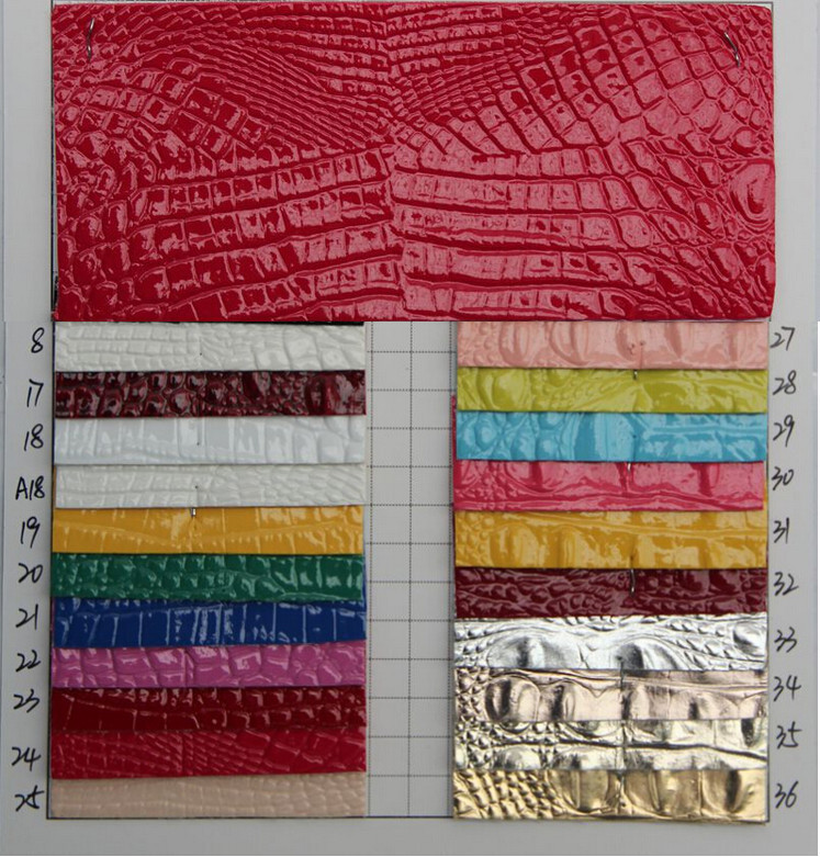 High light embossed crocodile grain smooth touch synthetic PVC leather/ fabric material leather/ embossed upholstery leather(China (Mainland))