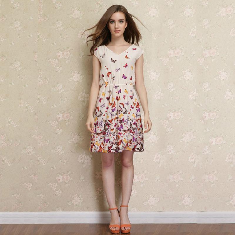New Arrival 100% Silk dress Fashion Women Silk One Piece Dress butterfly print(China (Mainland))