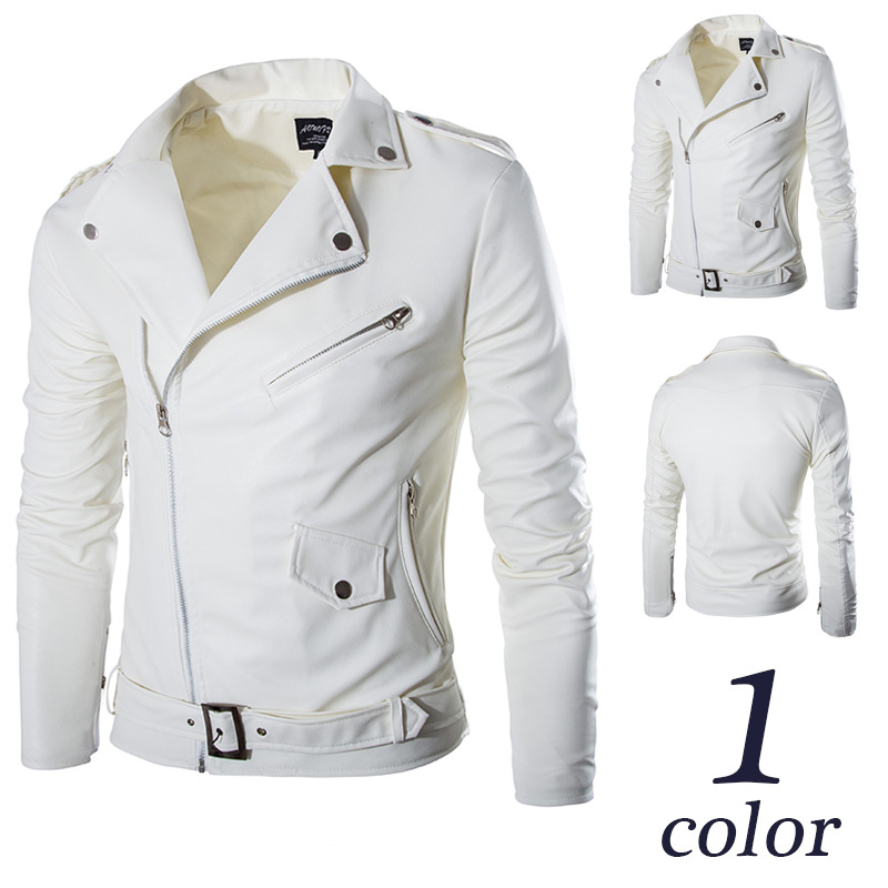 Solid White Fashion Men Leather Jacket With Pockets Zippers Men's Coats Brand Design Motorcycle Jacket England Style(China (Mainland))