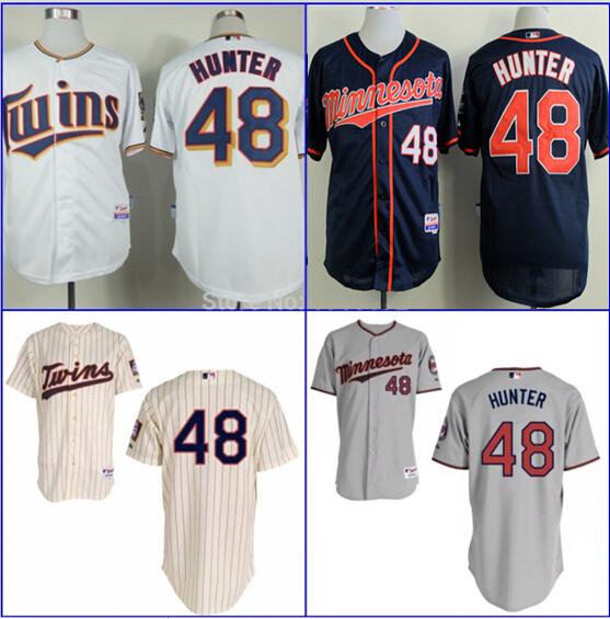 Torii Hunter jersey Minnesota Twins #48 Torii Hunter Home Baseball Jersey cream blue white gray jersey size small 46-4xl 58(China (Mainland))