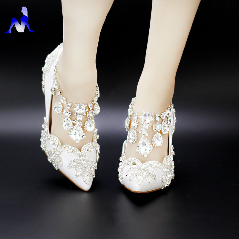 Crystal shoes wedding shoes bridal shoes diamond rhinestone handmade women's married shoes white thin heels high-heeled pointed