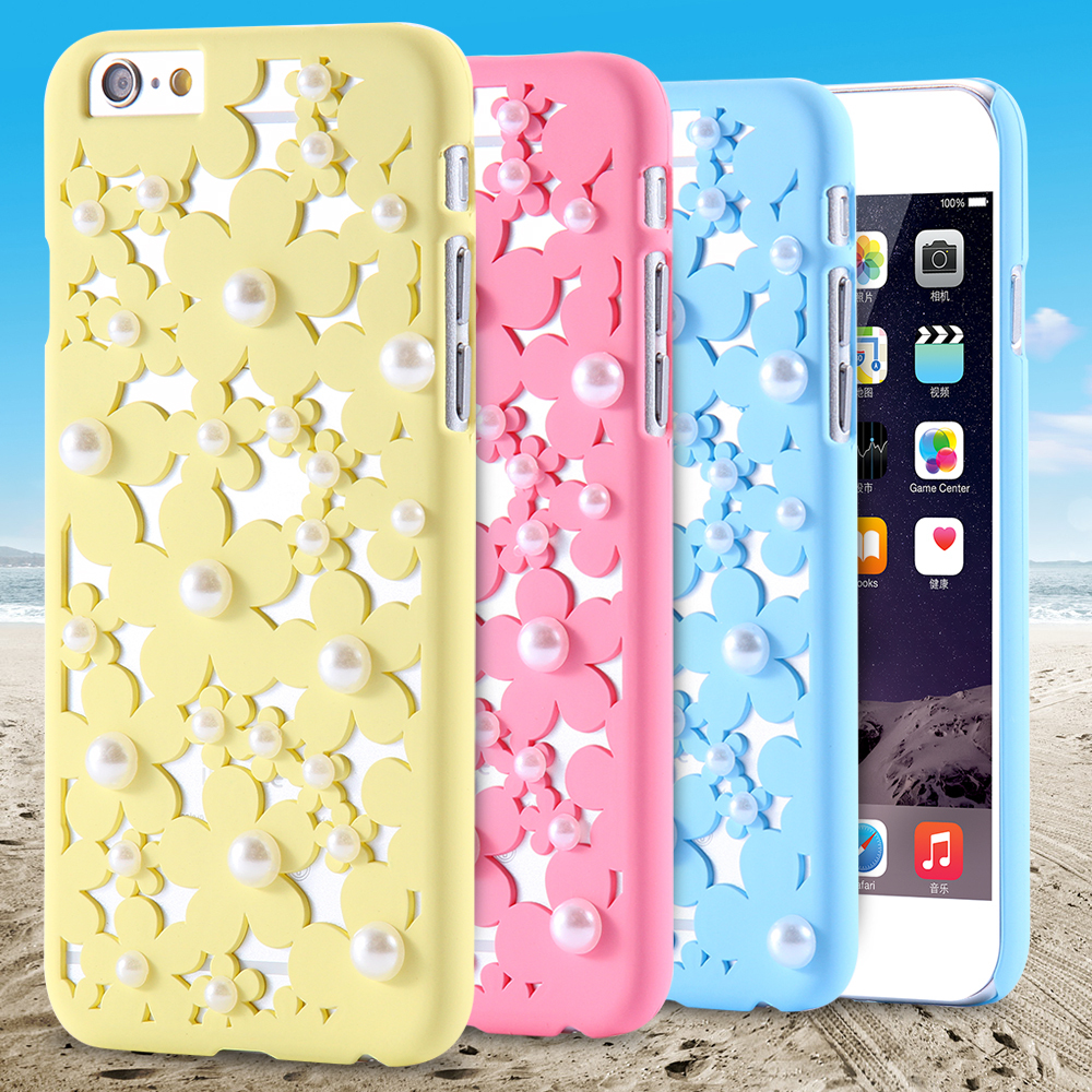 Beautiful Flower Case For iPhone 6s 6 Plus Luxury Pearl Hard Plastic Shell Girly Stylish Phone Bag Cases For iPhone 7 7 Plus(China (Mainland))
