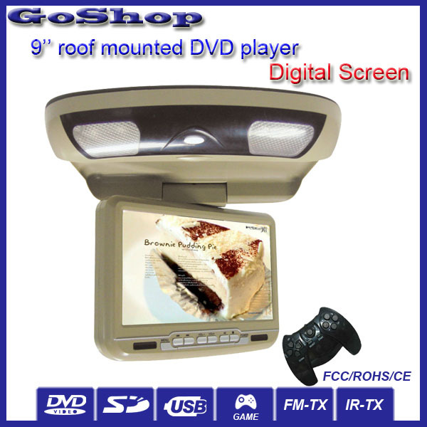 Car Accessories Beige Color 9'' Car Roof Mount Flip Down DVD Player With HD Screen Sony Lens USB SD FM Audio(China (Mainland))