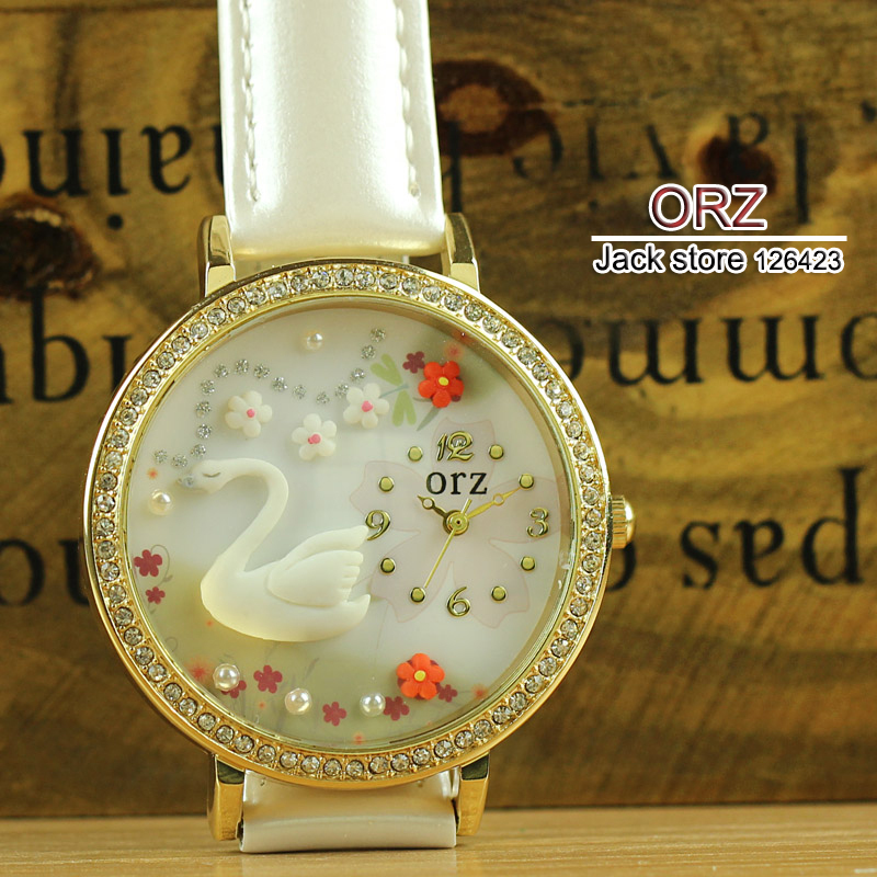 Hot Sell Soft Clay Diamond Lady Dress Wristwatches Fashion White Swan Design ORZ Brand Watches for Women z1041(China (Mainland))