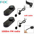 Free Shipping 2xBrand FDC 800M T COM Motorbike Bluetooth Intercoms Interphones FM 2 Earphones