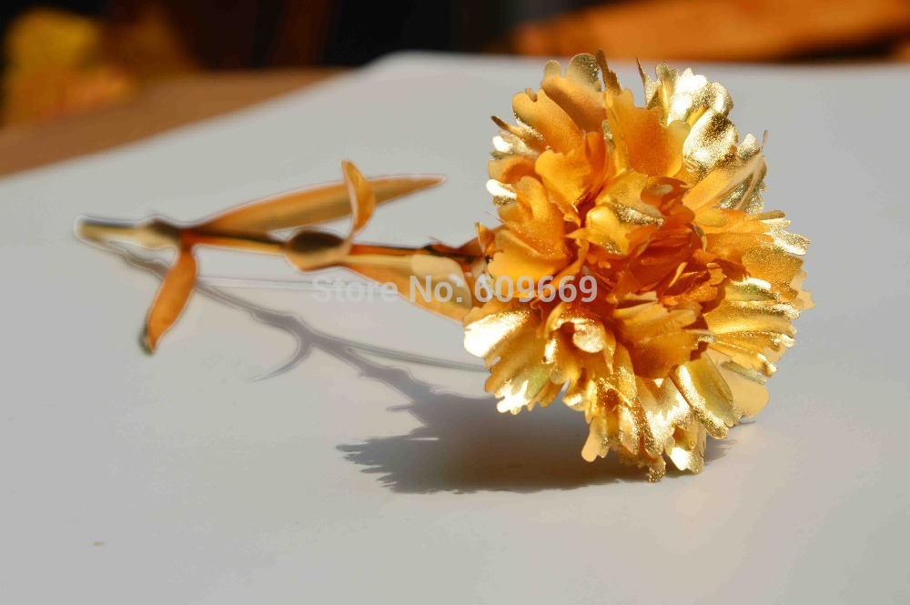 Innovative Idea Products Artificial Carnation Flowers Pure Gold Foil Plated Carnation Fresh Gifts For Mothers And Ladies(China (Mainland))