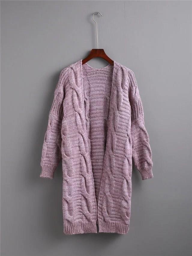 2016 New Fashion Women Elegant Cozy Pink Knitted Twist font b Sweaters b font Long Sleeve