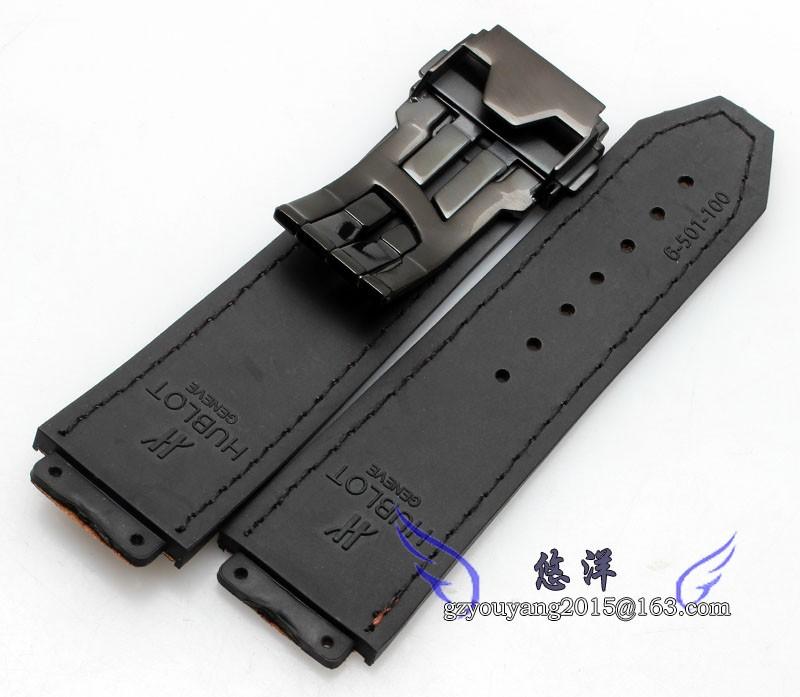 26 мм новых людей водонепроницаемый дайвинг силиконовая резина часы ремень черный матовый стали развертывания застежка