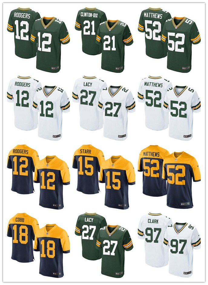 2016 elite Men Green Bay Packers White #12 Aaron Rodgers #52 Clay Matthews Green 27# LACY white green, 100% stitched logo(China (Mainland))