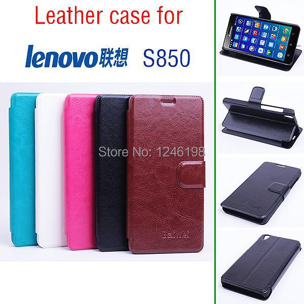 2015 Best Quality Lenovo S850 Cover Magnetic Flip Stand PU Leather Case For Lenovo S850 Mobile Phone Bag With Card Slots(China (Mainland))