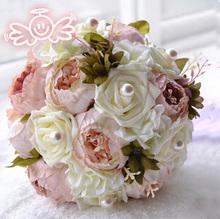 Свадебные букеты гибридный семь цветов пион невеста свадебные цветы искусственного шелка пионы свадебный букет цветов питания цветочные