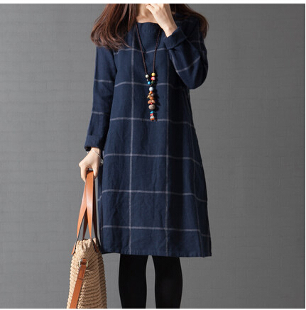2015 spring new large size women's clothing arts style casual dresses Korean long-sleeved plaid cotton dress female(China (Mainland))