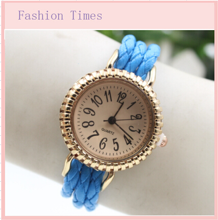 Wholesale 2015 New fashion Sunflower handcrafted Woven quartz watch Cute famous brand dial clock women casual wristwatches(China (Mainland))