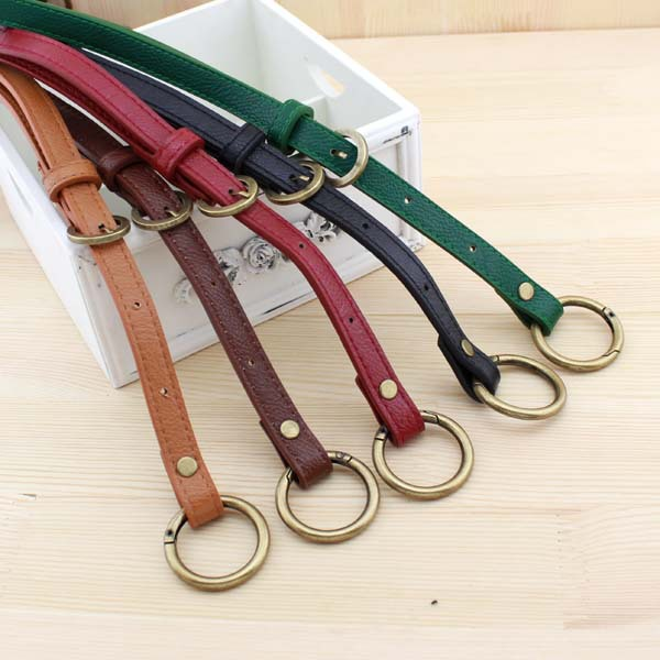 D029 thin 66~116CM Sling Bag handle belt 1.5 CM wide adjustable with round ring DIYBag Parts & Accessories 2pcs/lot(China (Mainland))