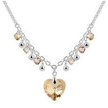 Free Shipping!!! Quality Women's Heart & Beads Style Champagne Crystal Collar Necklace Made With Swarovski Elements (6083)(China (Mainland))