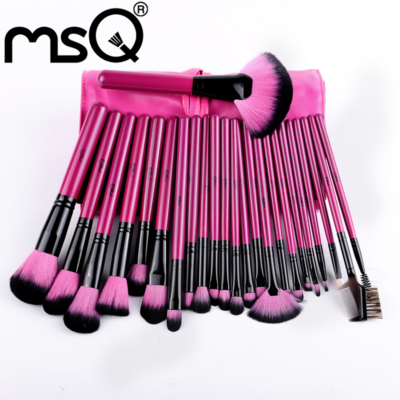MSQ 24pcs Professional Protable Makeup Brush Set  Best Quality Nylon Hair Comestic Brush With Pink  Leather Case<br><br>Aliexpress