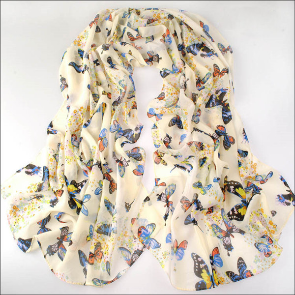160cm*70cm Fashion Woman Printing Butterfly Chiffon Silk Scarf winter Wrap shawl scarves Christmas Gifts - JLB International trade CO.,LTD Jewelry Store-NO. 1 store