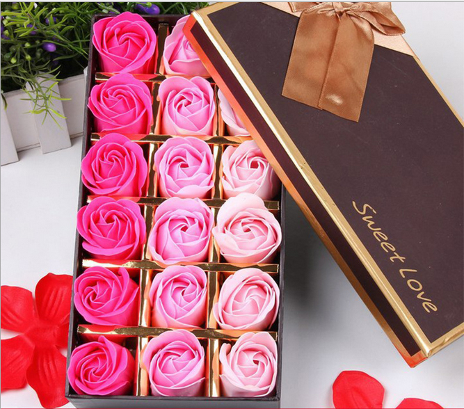 18pcs flower/lot Gradient gift bowknot wedding favor cleaning bath paper petals rose flower soap(China (Mainland))