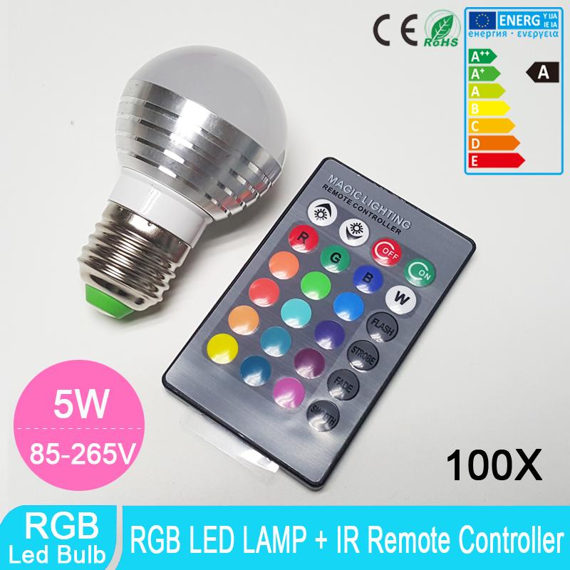 100pcs E27 LED RGB Lamp 5W Spot light Lamp Bulb AC85-265V IR Remote Control 16 Colors Change Lampada LED Super Brightness DHL<br><br>Aliexpress