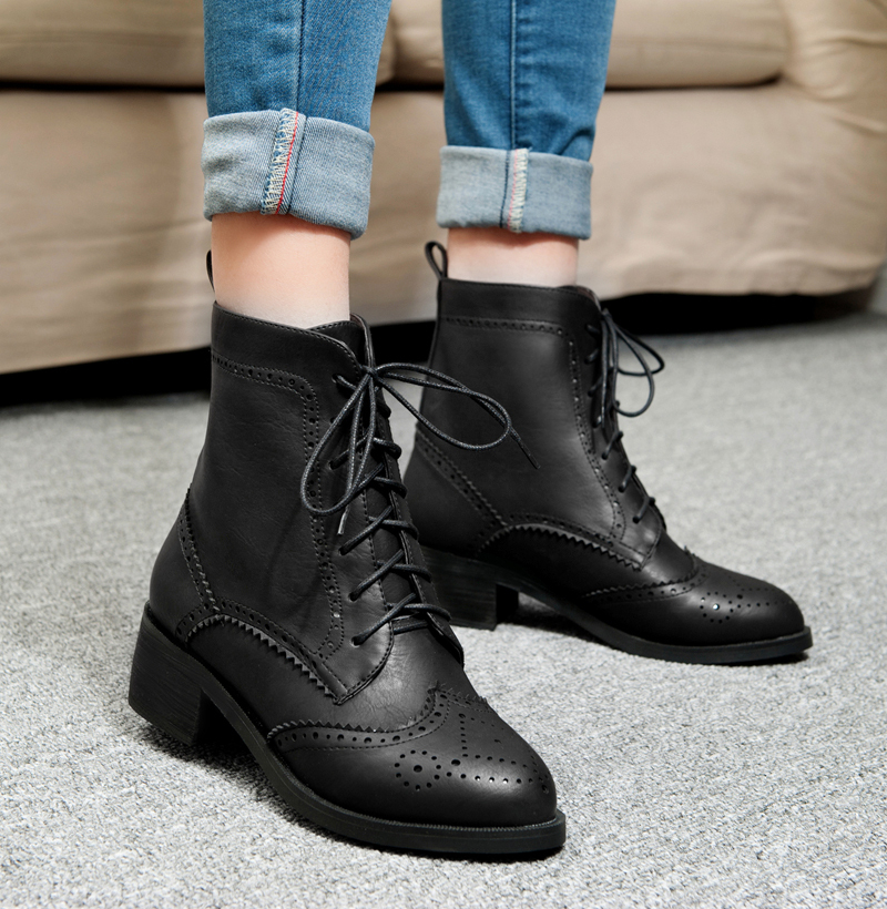 Womens Lace Up Ankle Boots Low Heel Faux Leather Flat Booties Shoes. from $ 23 5 out of 5 stars 1. DOTACOKO. Women's Pointed Toe Ankle Boots Lace up Chunky Heel Oxfords Vintage Leather Short Boots. More Choices from $ 27 Naughty Monkey. Women's Shasta Peak Ankle Bootie. from $ 19 99 Prime.