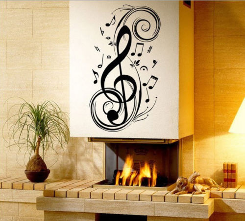D421 Music Notes Bad Room Home Wall Stickers Decals Vinyl Decoration DIY(China (Mainland))