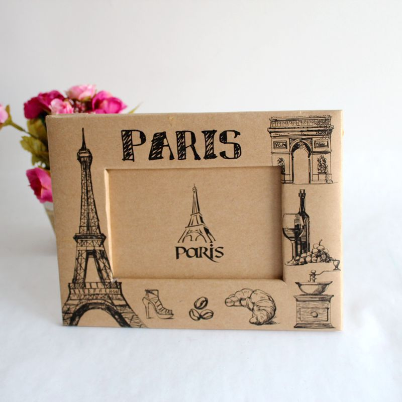 marco de la foto Photo Frame France Paris 5 inch New Home Textile Rectangle Brown Cheap Gift Photo Frame Decorative Photo Frame(China (Mainland))