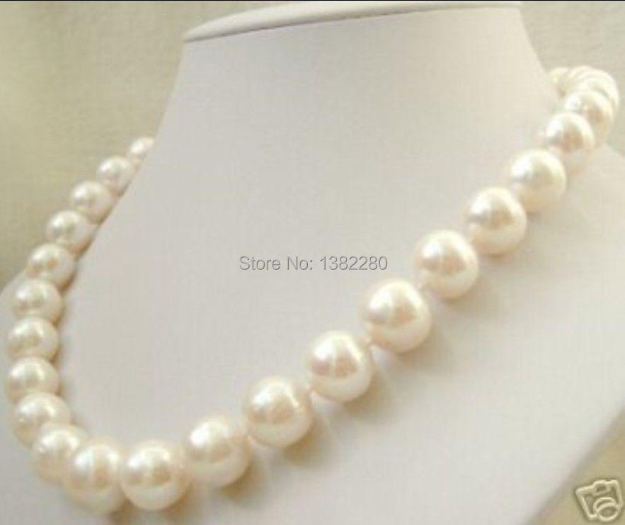 "Free shipping! 2015 fashion DIY jewelry 12mm South China Sea White Shell Pearl Necklace 18 "" JT6768(China (Mainland))"