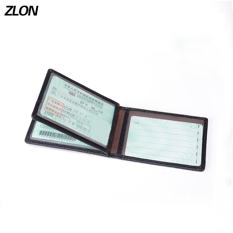 New Fashion Men Genuine Leather Bank ID Card Case Business Holders 3 Driver's License Documents Card Men's Wallets Black K127