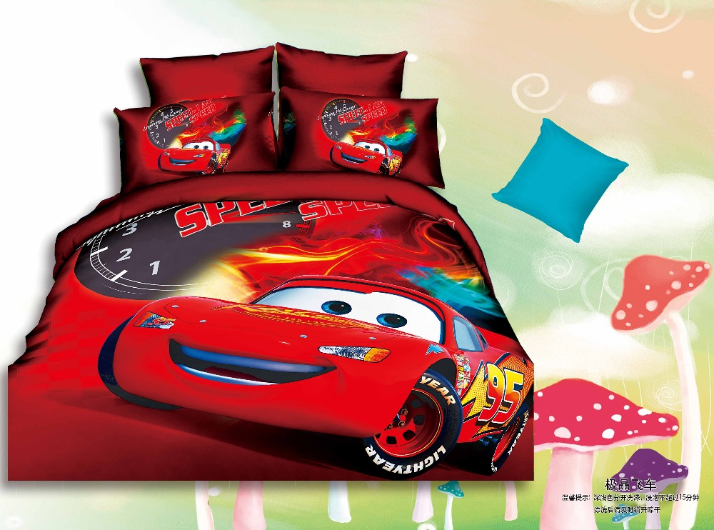 US Local Delivery kids bedding sets kids the cars bed sheet fitted sheet pillow case kids cartoon bedding set twin full size(China (Mainland))