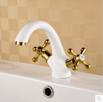 New Arrival High Quality Brass Gold And White Finish Bathroom Basin Faucet Sink Faucet With