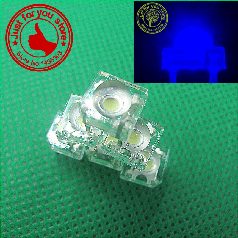 100pcs blue 5mm Piranha LED water Clear Dome Super Flux Car Light 4 pin Wide Angle Super Bright Light Lamp good quality(China (Mainland))