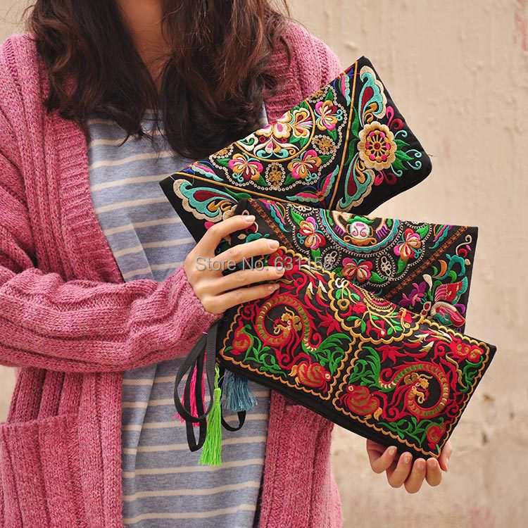 Sale Folk style retro embroidery hand bag Embroider Purse Flower Embroidered Wallet Women's Ladies Clutch Bag FreeShipping - MISSU Bag&Clothes Design..LTD store