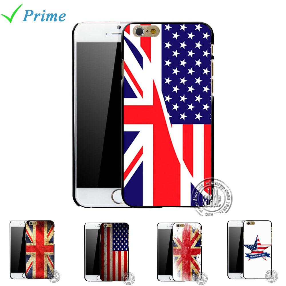 Retro Vitange USA American UK Britain flag custom printed hard plastic cases cover for iphone 4 4s 5 5s 6 6 plus 4.7 5.5 inch(China (Mainland))