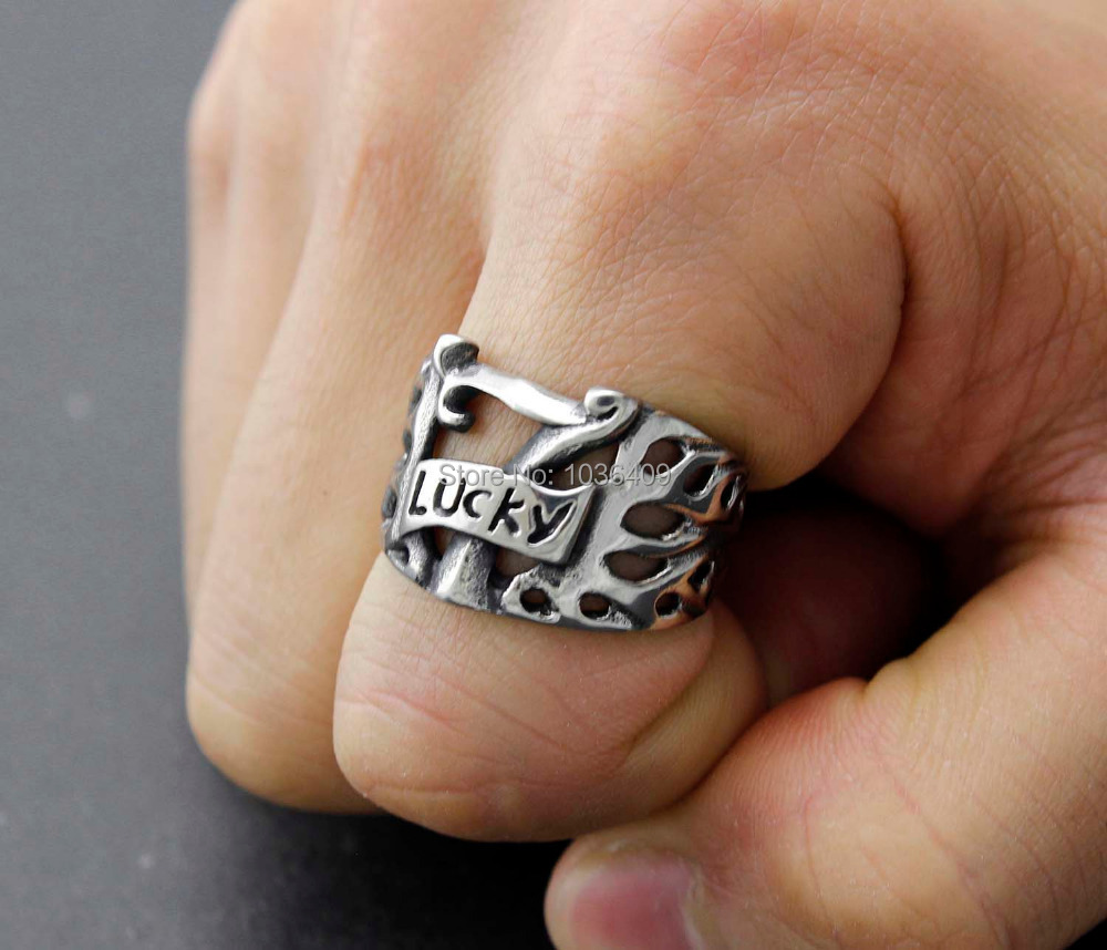 Titanium Stainless Steel Flaming Lucky Seven 7 Men's Ring size 8-11(China (Mainland))