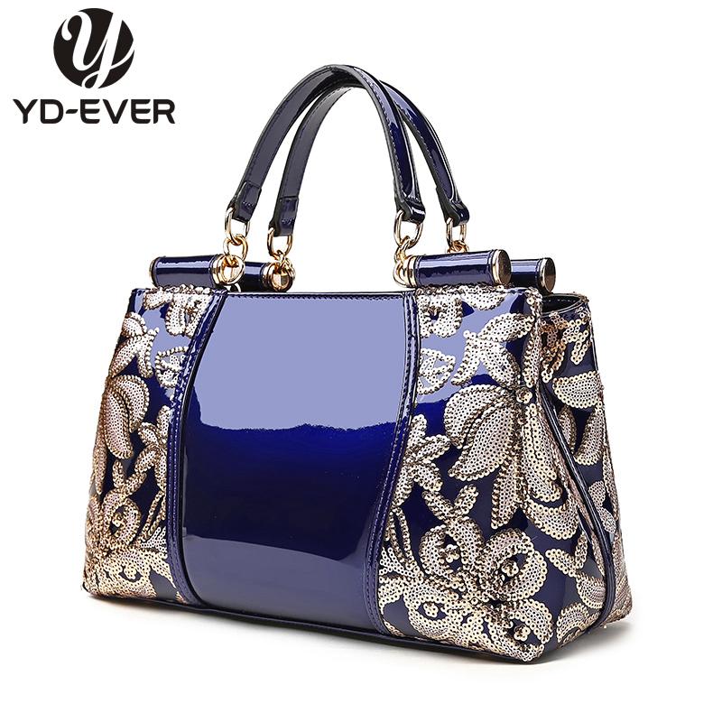 2016 patent leather women handbag brand shoulder bag luxury fashion tote Clutch Sequins design patent diamond messenger bag 5(China (Mainland))