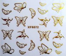3D gold nail stickers cut cat butterfly zip love design sticker on nails beauty nail art decorations water transfer nail sticker