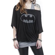 Buy 2017 Brand Batman T Shirt Women Black Slim Shoulder Casual Loose Shirts Women's Fake Two Piece Print Bat Sleeve T-Shirt for $9.86 in AliExpress store