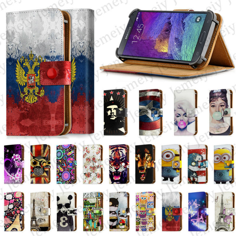 """5.5Inch Universal Leather For Samsung Galaxy Note 2 3 4 II III IV Flip Case ,5.5"""" Print Wolf Floral Minion N7100 N9000 N9100(China (Mainland))"""
