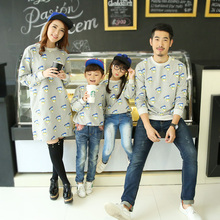 Family Clothing Casual Sweatshirt Clothes Mother Mom and Daughter Father Son Matching Clothing Long Tee Women Dress CP75