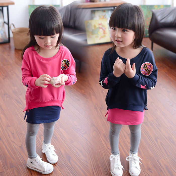 2016 New Spring Girl Suit Children Sweater Leggings Leisure Sport Sets 2pc Girls Sets 3-8 Ages Free Shipping(China (Mainland))